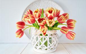 цветы, тюльпаны, ваза, букет