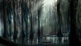 фэнтези, люди, человек, лодка, озеро, лес, птицы