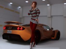 3д графика, люди-авто, мото , people- car ,  moto, девушка, фон, взгляд, автомобиль