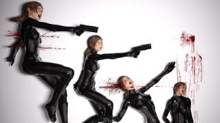девушка, фон, униформа, кровь