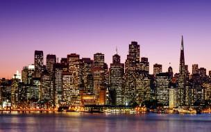 города, сан-франциско , сша, небоскребы, ночь, огни