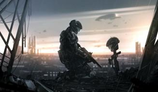 фэнтези, иные миры,  иные времена, город, развалины, солдат, печаль, шлем