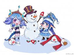 видео игры, league of legends, снеговик, девочки, пор, зима, шарф