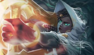 видео игры, league of legends, senna, девушка, косички, оружие, магия