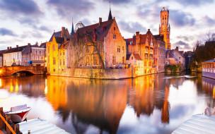 города, брюгге , бельгия, канал, отражение, мост