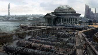 видео игры, fallout 3, город, развалины, трубы, мосты