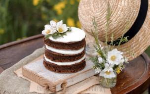 еда, торты, шляпа, торт, цветы, букет