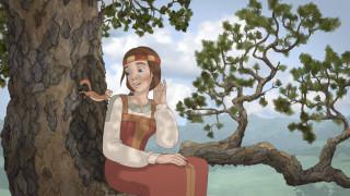 девушка, дерево, белка