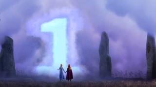 обои для рабочего стола 1920x1080 мультфильмы, frozen ii, девушки, туман, камни