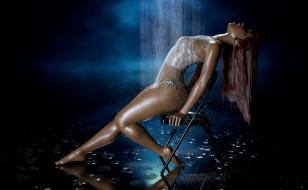 девушка, фон, душ, вода