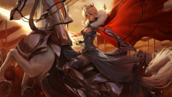 аниме, fate, stay night,  grand order,  apocrypha, девушка, фон, взгляд, конь, корона