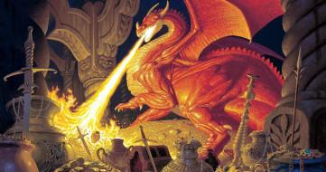 фэнтези, _lord of the rings, дракон, огонь, смауг, колонны, сокровища