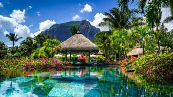 природа, тропики, гора, пальмы, бассейн