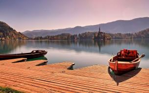 корабли, лодки,  шлюпки, озеро, пристань