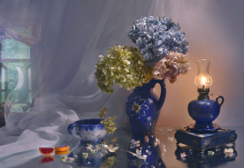 цветы, гортензия, натюрморт, зеркало, отражение, керамика, вечер, закат