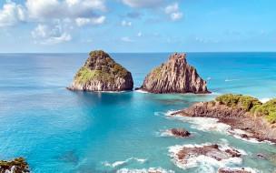 природа, побережье, вода, скалы, облака