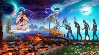 рисованное, живопись, девушка, фон, железная, дорога, скелет