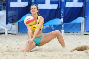 пляжный, волейбол, мяч, спортсменка