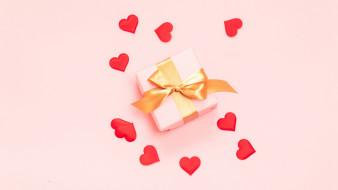 праздничные, день святого валентина,  сердечки,  любовь, сердечки, подарки, лента, бант