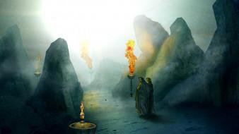 фэнтези, люди, скалы, фон, факел
