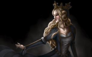 рисованное, люди, девушка, фон, корона, платье