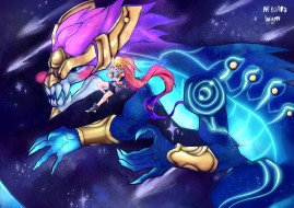 видео игры, league of legends, монстр, девушка, aurelion, sol, zoe