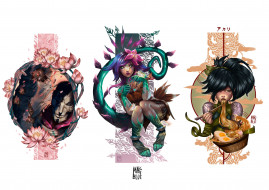 персонажи, цветы, хвост, еда, Jhin, Neeko, Akali