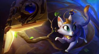 видео игры, league of legends, кошка, юми, ветки, книга, yuumi