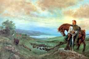 фэнтези, _luis royo, воин, конь, сражение, море, холмы