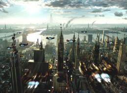 фэнтези, иные миры,  иные времена, небо, город, озеро, панорама, транспорт