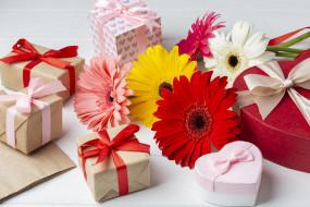 праздничные, подарки и коробочки, герберы, подарки, банты, ленты