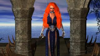 девушка, фон, платье, меч, море