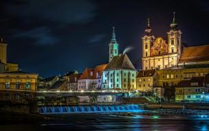 steyr, austria, города, - огни ночного города