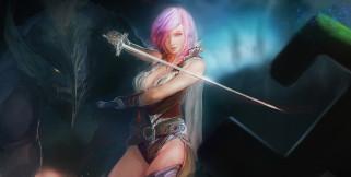 видео игры, final fantasy xiii, девушка, фон, взгляд, униформа, шпага, существо