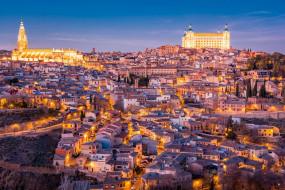 города, толедо , испания, панорама, дома, здания, огни