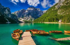 корабли, лодки,  шлюпки, горы, озеро, мостки