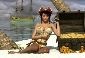 3д графика, фантазия , fantasy, девушка, фон, взгляд, пират, униформа, сундук, золото, монеты, корабль