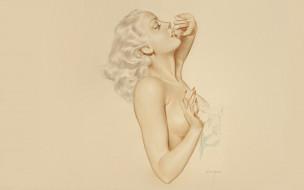рисованное, alberto vargas, девушка, блондинка, цветы