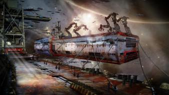 фэнтези, космические корабли,  звездолеты,  станции, garbage, patrice, garcia