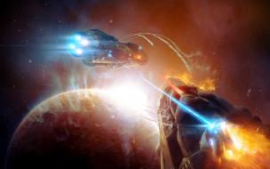 фэнтези, космические корабли,  звездолеты,  станции, планета, корабли, фон, бой
