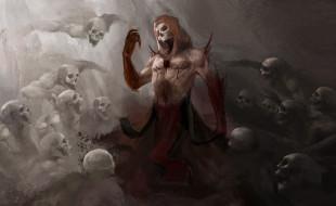 фэнтези, нежить, скелет, череп, фон