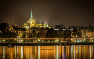 города, женева , швейцария, река, вечер, огни