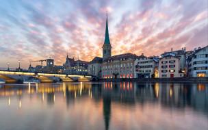 города, цюрих , швейцария, река, вечер, огни