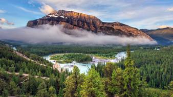 природа, реки, озера, горы, туман, река