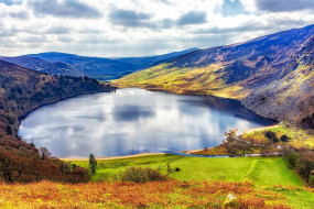 lough tay, the guinness lake, the wicklow mountains, ireland, природа, реки, озера, lough, tay, the, guinness, lake, wicklow, mountains