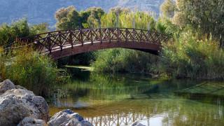 природа, парк, водоем, камни, мостик