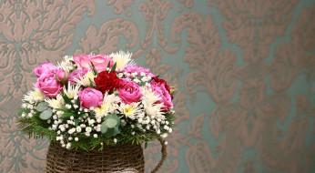 цветы, букеты,  композиции, гипсофила, розы, хризантемы