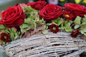 цветы, букеты,  композиции, розы, гортензия, хризантемы