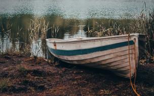 корабли, лодки,  шлюпки, камыши, лодка, река
