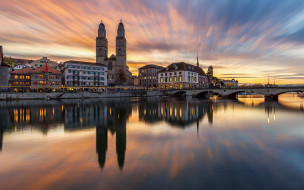 города, цюрих , швейцария, река, мост, закат
